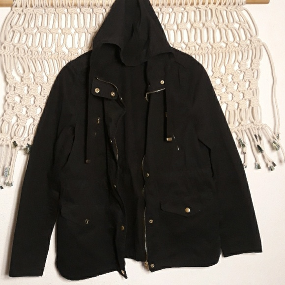 Love Tree Jackets & Blazers - Love Tree black gold hardware hood utility jacket